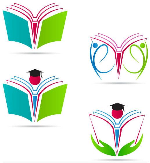 Logotypes with books vectors graphics