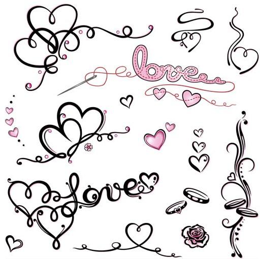 Love Calligraphic Elements vector