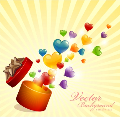 Love heart background Free vector