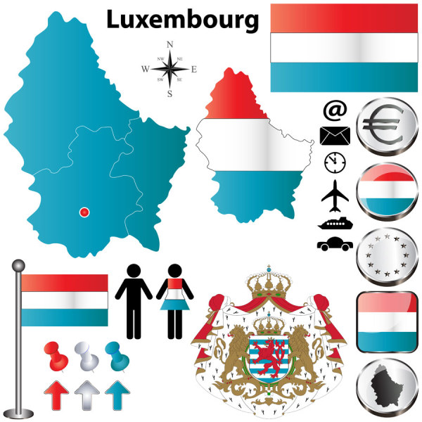 Luxembourg elements vector graphics