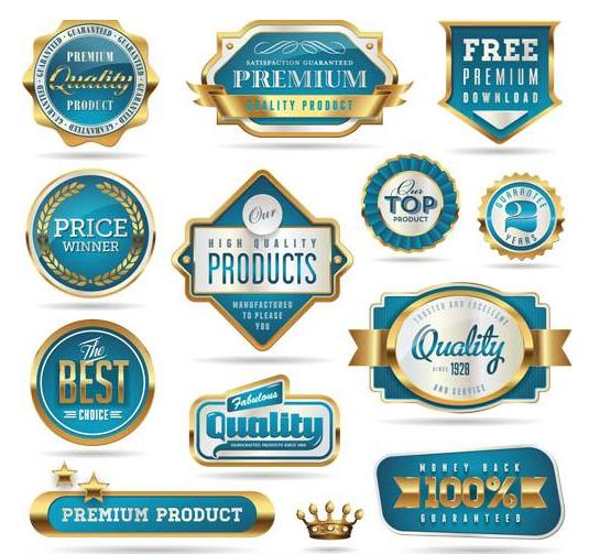 Luxury Blue Labels set vector free download