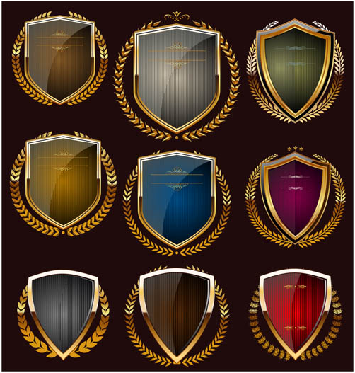 Luxury Golden Shields set vector