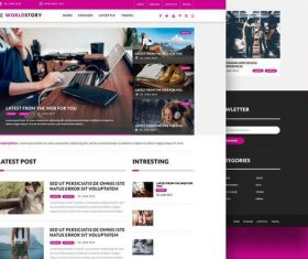Magazine Blog Web PSD Template