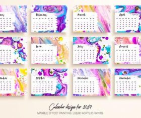 Marble effect painting 2019 calendar template vector