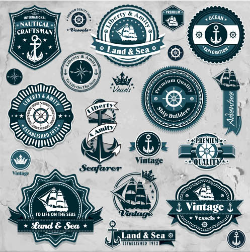 Marine Blue Labels free shiny vector