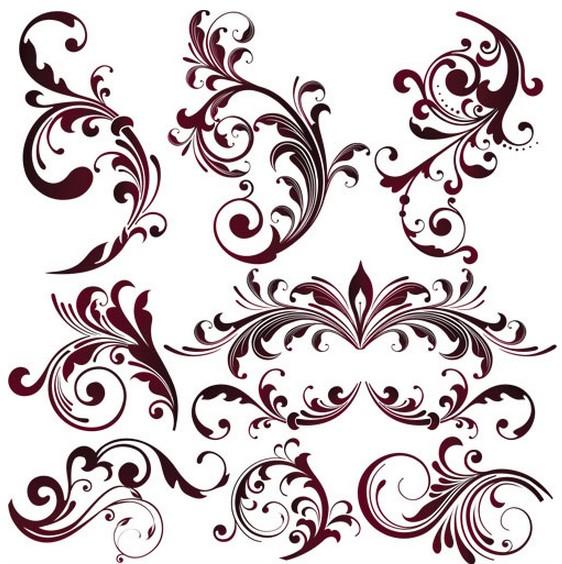 Maroon Floral Ornaments vector set