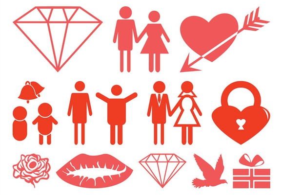 Marriage And Love Icons vector