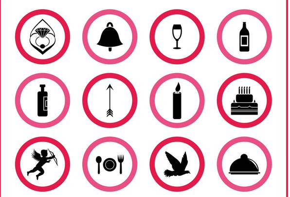Marriage Icons Graphics vector
