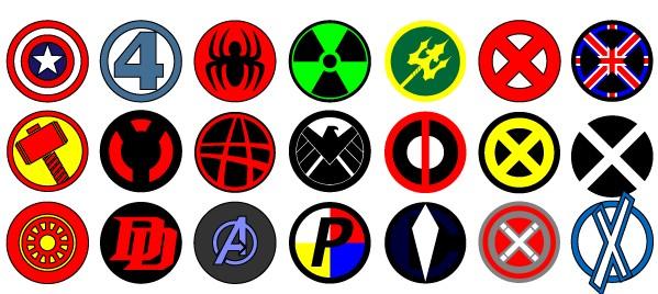 Marvel logos set vector