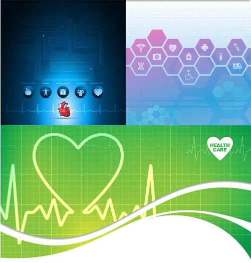 Medical Bright Backgrounds 4 vector set