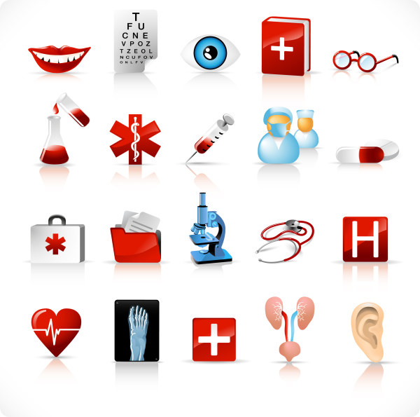 Medical tools icons vector