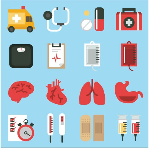 Medicine Color Icons graphic vector