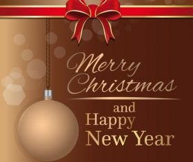 Merry Christmas and Happy New Year brown vector 04