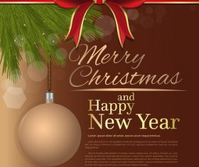 Merry Christmas and Happy New Year brown vector 06