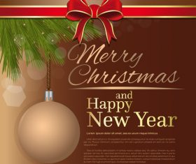 Merry Christmas and Happy New Year brown vector 07