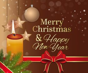 Merry Christmas and New Year greeting card and burning candle vector 01