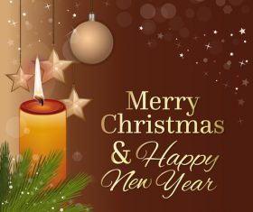 Merry Christmas and New Year greeting card and burning candle vector 02