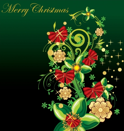 Merry christmas flower with bows vector graphic