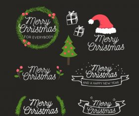 Merry christmas art word vector