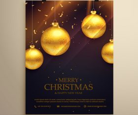 Merry christmas festvial poster with flyer template vectors 10