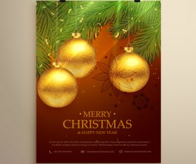 Merry christmas festvial poster with flyer template vectors 11