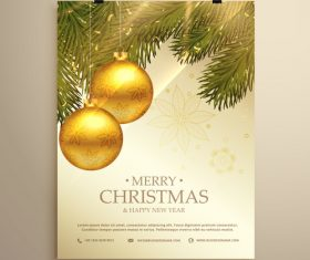Merry christmas festvial poster with flyer template vectors 12