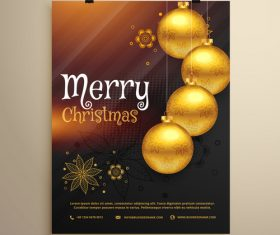Merry christmas festvial poster with flyer template vectors 13