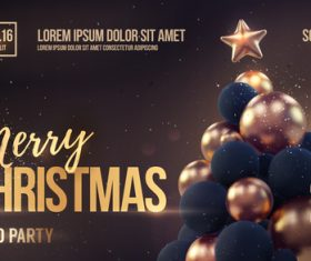 Merry christmas gold party flyer with poster template vector 04