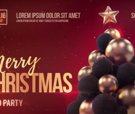 Merry christmas gold party flyer with poster template vector 06