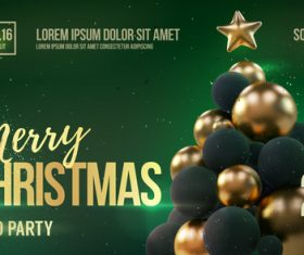 Merry christmas gold party flyer with poster template vector 08