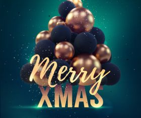 Merry christmas gold party flyer with poster template vector 09