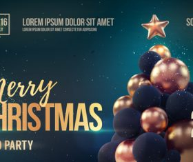 Merry christmas gold party flyer with poster template vector 10