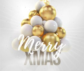 Merry christmas gold party flyer with poster template vector 14