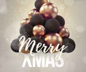 Merry christmas gold party flyer with poster template vector 16