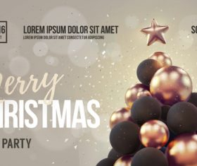 Merry christmas gold party flyer with poster template vector 17