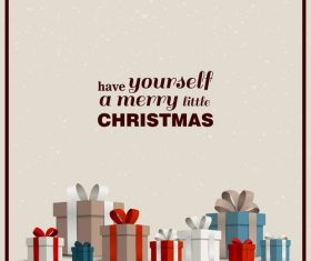 Merry little christmas greenting card vector