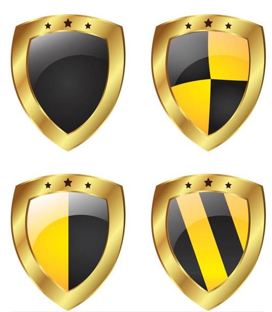 Metal Shields graphic vector set