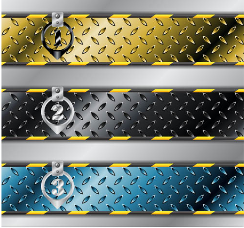 Metal Step Banners vector graphics
