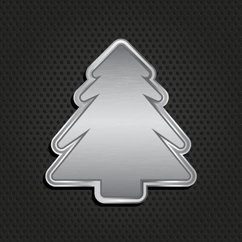 Metallic christmas tree background vector