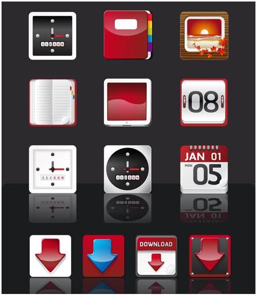 Mobile Menu Icons shiny vector