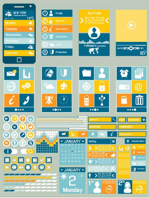 Mobile UI Components 2 design vector