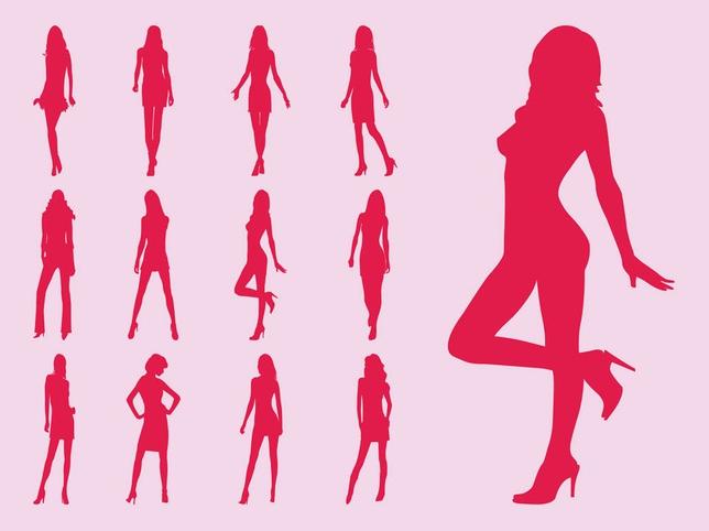 Model Girls Silhouettes vectors graphics