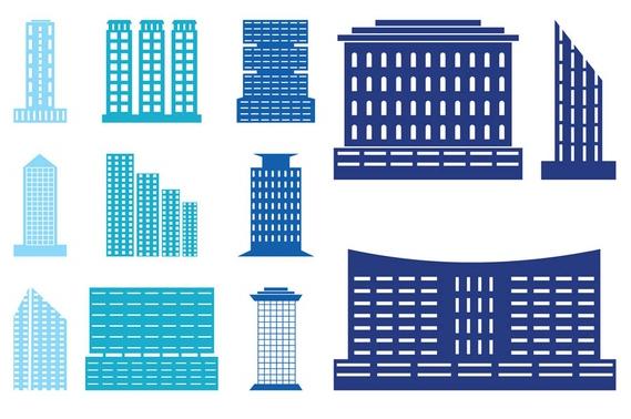 Modern Buildings Set vectors graphic