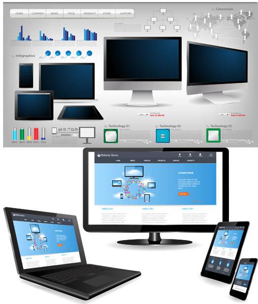 Modern Computers Technology vector set
