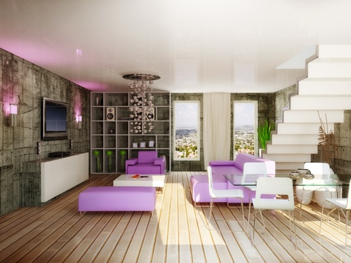 Modern loft with and living room Stock Photo 04