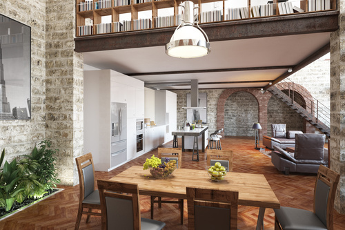 Modern loft with and living room Stock Photo 08