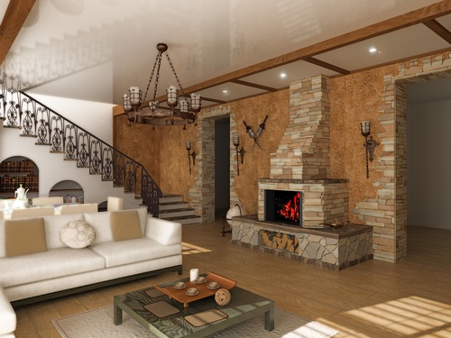 Modern loft with and living room Stock Photo 12