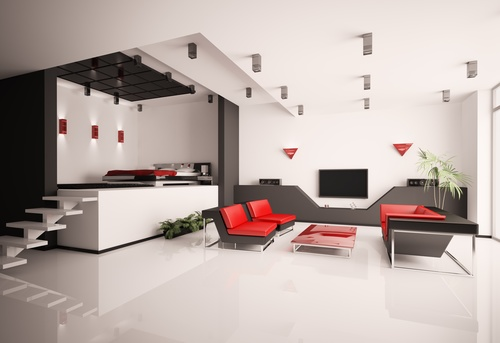 Modern loft with and living room Stock Photo 13