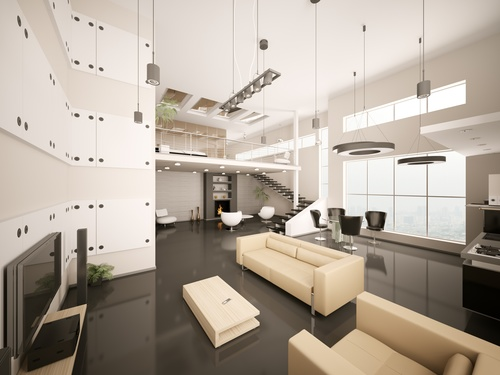 Modern loft with and living room Stock Photo 14