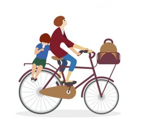 Mother riding bicycle with little boy going to school vector